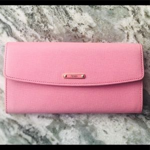 Fendi Pink Fuchsia Two tone Leather Long Wallet